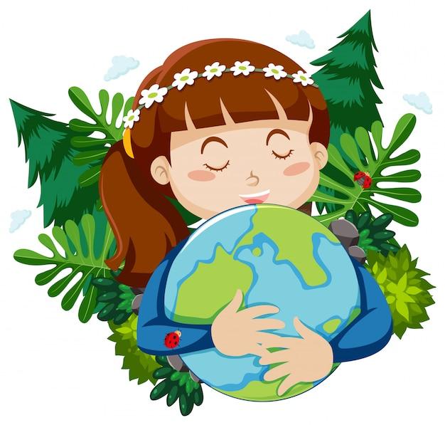 Niña feliz abrazando pequeño mundo con hojas en