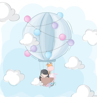 Niña feliz y animal volando en globo aerostático