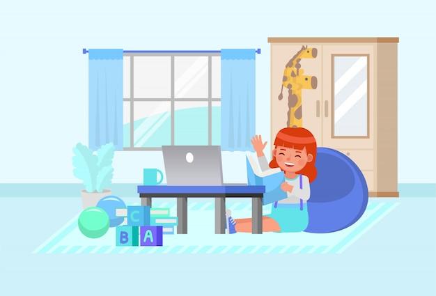 Niña feliz aprendiendo en línea con el personaje de la computadora. quedarse en casa concepto.