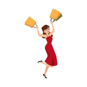 Niña feliz con bolsas de compras - mujer de dibujos animados con vestido rojo y tacones saltando de alegría y felicidad después de la compra de moda al por menor. ilustración.