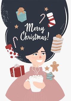 Niña feliz con cacao rodeado de regalos de navidad
