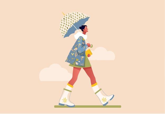Niña feliz caminando bajo la lluvia. ilustración de concepto plano moderno de una mujer joven de moda sosteniendo un paraguas, vistiendo una falda verde y botas de goma. feliz otoño.