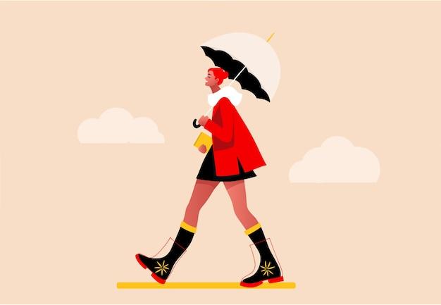 Niña feliz caminando bajo la lluvia. ilustración de concepto plano moderno de una mujer joven de moda