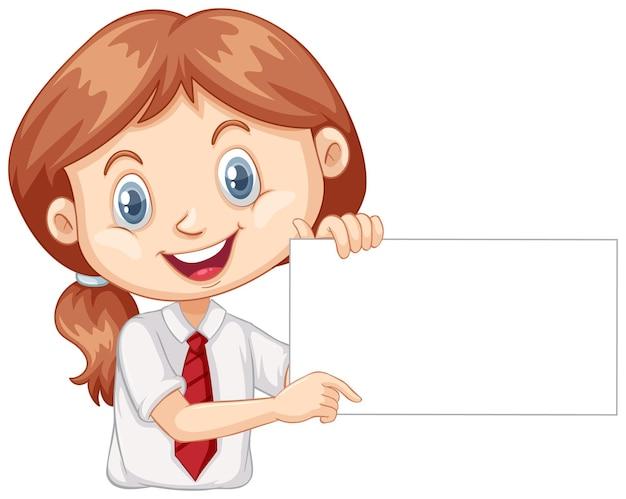 Una niña feliz cartel en blanco