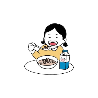 Niña feliz comiendo cereal, concepto de desayuno, ilustración de estilo de arte de línea dibujada a mano.