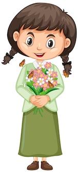 Niña feliz con flores en blanco