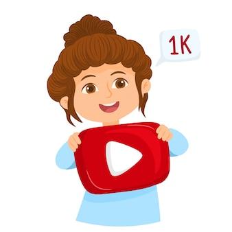 Niña feliz con el icono de reproducción de youtube