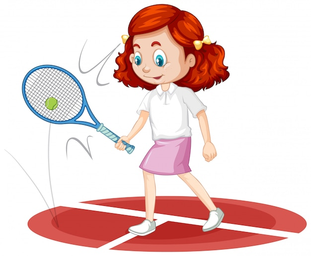 Una niña feliz jugando tenis