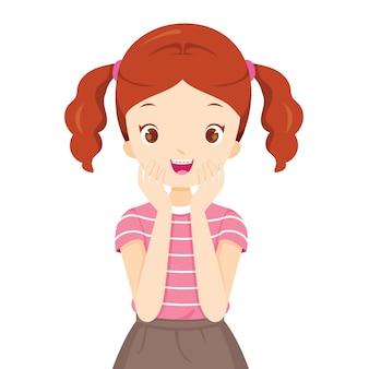 Niña feliz, con, ortodoncia