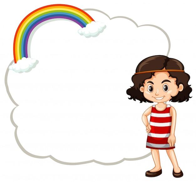 Niña feliz y plantilla de marco de una nube