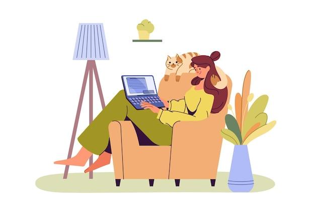 Niña feliz con portátil sentado en un sillón. mujer joven trabajando o estudiando en una computadora. oficina en casa acogedora, trabajo en casa, educación en línea o concepto de redes sociales. trabajador autónomo plano o autónomo.