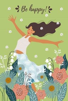 Niña feliz saltando y flores abstractas para diseño de postales.