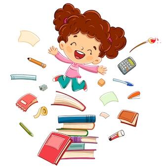 Niña feliz saltando sobre algunos libros rodeados de útiles escolares