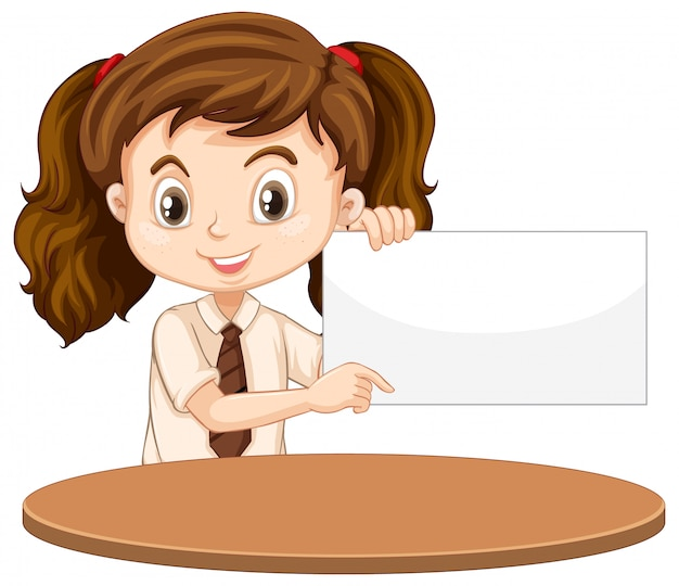 Una niña feliz con signo en blanco