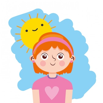 Niña feliz con sol asomándose por la mañana. ilustración