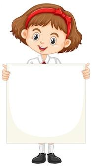 Una niña feliz con tablero en blanco