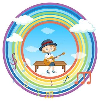 Niña feliz tocando la guitarra en marco redondo arco iris con símbolo de melodía