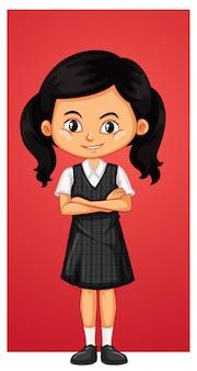 Niña feliz en uniforme escolar