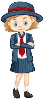 Una niña feliz en uniforme escolar
