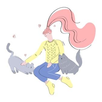 Niña y gatos