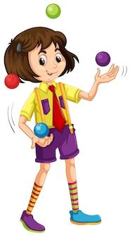 Una niña haciendo malabares con la pelota