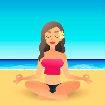 Niña hermosa de dibujos animados en la playa practicando yoga