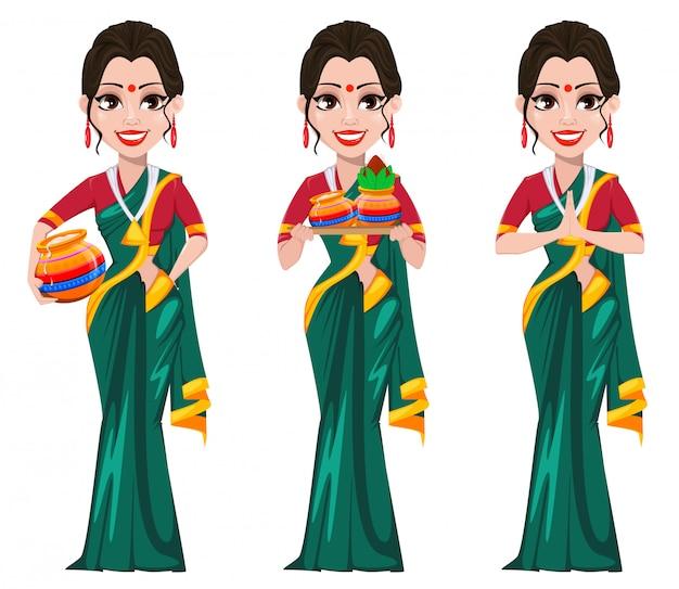 Niña india en conjunto de ropa tradicional