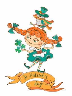 Niña irlandesa con un pájaro en el día de san patricio.