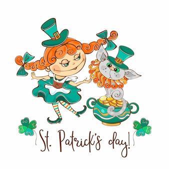 Niña irlandesa con una postal de gato para el día de san patricio.