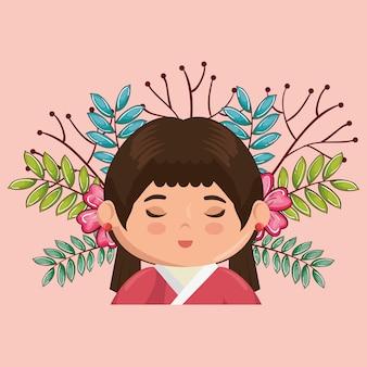 Niña japonesa kawaii con flores de carácter