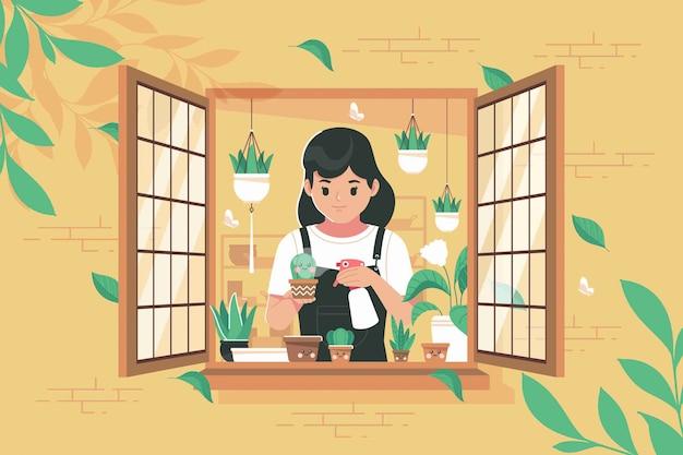 Una niña de jardinería en el fondo de la ilustración de la ventana