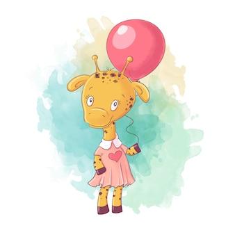 Niña de jirafa de dibujos animados lindo en un vestido con un globo