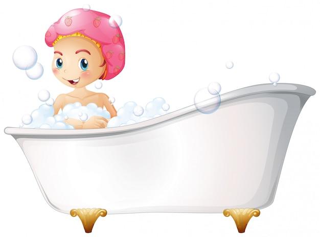 Una, niña joven, tomar un baño