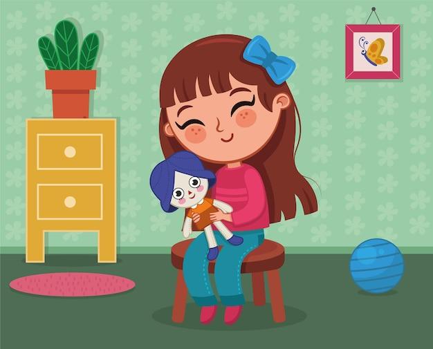 Niña jugando con una muñeca de trapo en su habitación ilustración vectorial