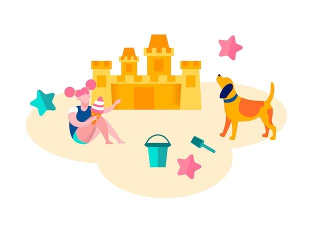 Niña jugando en la playa construyendo castillos de arena,