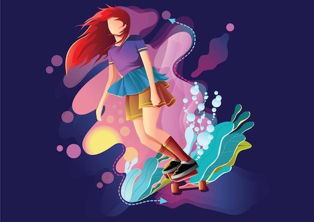 Niña jugar patineta fantasía web ilustración