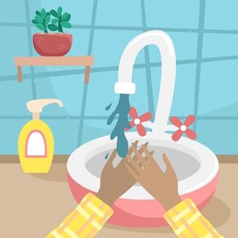 La niña se lava las manos con agua del grifo. ilustración de vector plano