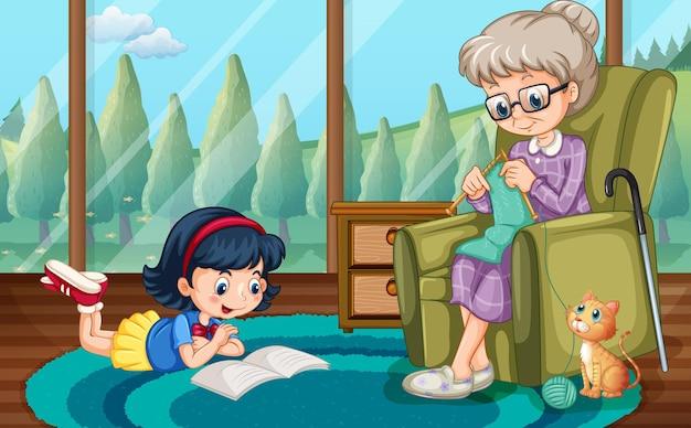 Niña, lectura, y, abuela, tejer