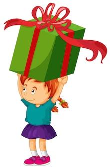 Niña levantando caja de regalo gigante
