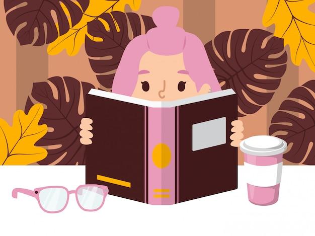 Niña leyendo un libro niño inteligente solo sosteniendo un gran libro abierto en la mesa