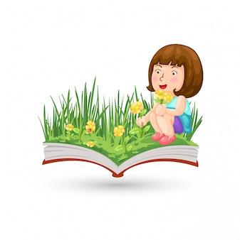 Una niña con el libro de flores.