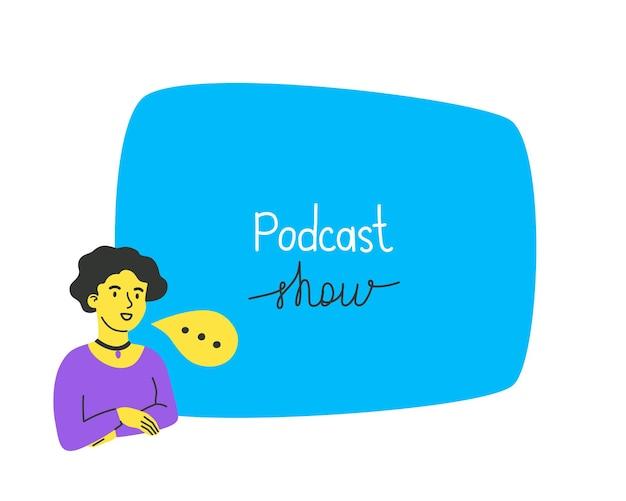 La niña lidera una plantilla de podcast con espacio libre para su mensaje el concepto de una radio de grabación de sonido de podcast