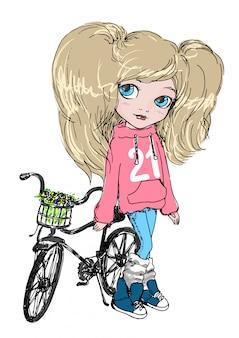 Niña linda con bicicleta