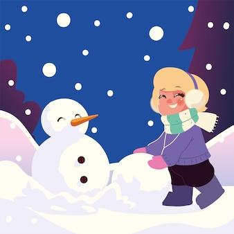 Niña linda con bola de nieve haciendo muñeco de nieve en la ilustración de vector de escena de invierno