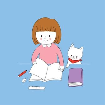 Niña linda de dibujos animados leyendo un vector libro y gato.