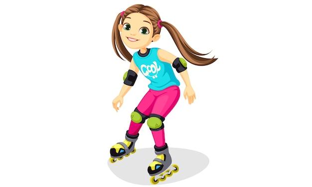 Niña linda de dibujos animados patinando