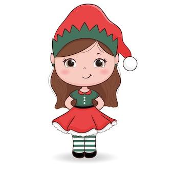 Niña linda con un disfraz de elfo