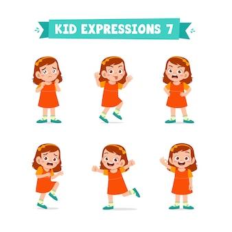 Niña linda en diversas expresiones y conjunto de gestos