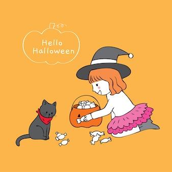 Niña linda y gato negro de la historieta que comparten el vector del caramelo.