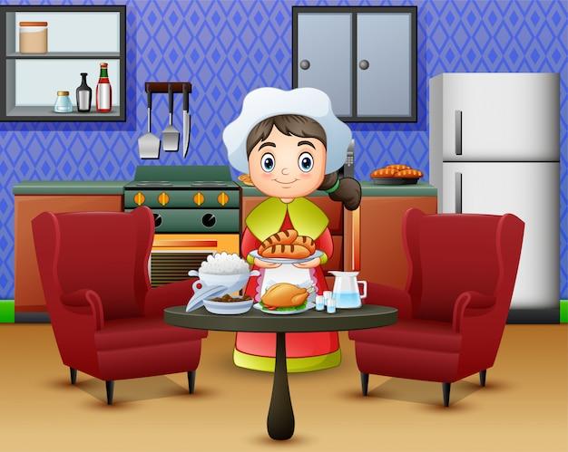 Niña linda de la historieta en el sombrero del cocinero que sostiene un alimento